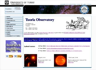 New Tuorla Observatory home page